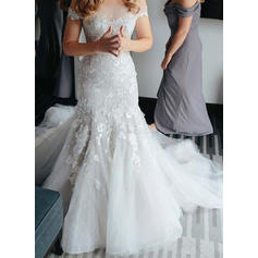 Modern Tulle Wedding Dresses Trumpet/Mermaid Royal Train Off-The-Shoulder Sleeveless