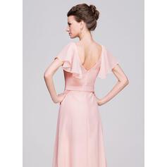 Vestidos princesa/ Formato A Decote redondo Longos Tecido de seda Vestido para a mãe da noiva com Pregueado Beading lantejoulas (008058406)