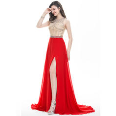 A-Line/Princess Scoop Neck Sweep Train Prom Dresses With Beading Sequins Split Front (018107804)