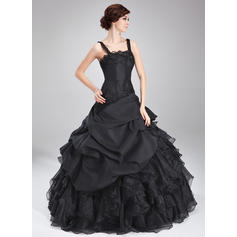 Ball-Gown Square Neckline Floor-Length Taffeta Organza Prom Dress With Beading Appliques Lace Cascading Ruffles