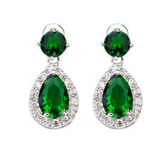 Earrings Zircon/Platinum Plated Pierced Ladies' Pretty Wedding & Party Jewelry