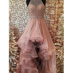 Ball-Gown Organza Prom Dresses Beading Halter Sleeveless Asymmetrical (018148461)
