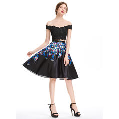 Cetim Alças largas regulares Vestidos princesa/ Formato A Off-the-ombro Vestidos de boas vindas (022214136)