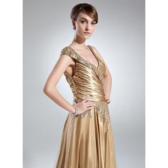 Forme Princesse Charmeuse Sans manches Col V Longueur ras du sol Fermeture éclair sur le côté Robes mère de la mariée (008213143)