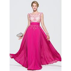 A-Line/Princess Prom Dresses Chic Floor-Length Scoop Neck Sleeveless