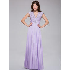 Floor-Length Chiffon A-Line/Princess V-neck Prom Dresses (018025512)