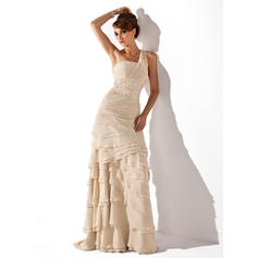 Chiffon Sleeveless Mother of the Bride Dresses One-Shoulder A-Line/Princess Beading Cascading Ruffles Sweep Train