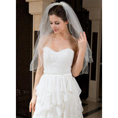 Elbow Bridal Veils Tulle Two-tier With Pencil Edge With Faux Pearl Wedding Veils
