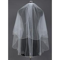 Fingerspitze Braut Schleier Tüll Zweischichtig Klassische Art mit Perlenbesetzter Saum Brautschleier