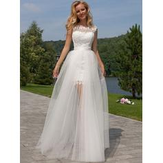 Modern Floor-Length A-Line/Princess Wedding Dresses Scoop Tulle Lace Sleeveless