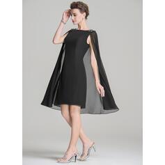 Tubo Decote redondo Coquetel Tecido de seda Vestido para a mãe da noiva com Beading Apliques de Renda lantejoulas (008072699)