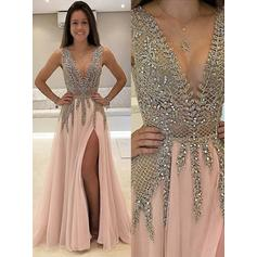 A-Line/Princess V-neck Floor-Length Prom Dresses With Beading Split Front (018146496)