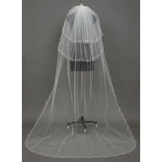 Chapel Bridal Veils Tulle Three-tier Drop Veil With Cut Edge Wedding Veils