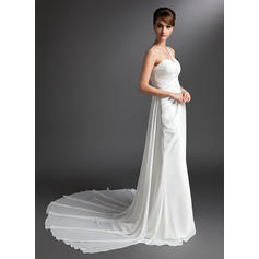 Beautiful General Plus One Shoulder Sheath/Column Chiffon Wedding Dresses (002196874)