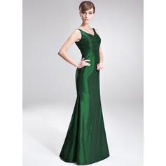 Vestidos princesa/ Formato A Tafetá Sem magas Decote V Longos Zipper nas costas Vestidos para a mãe da noiva (008213124)