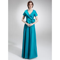 Ruffle Bow(s) V-neck Fashion Taffeta Mother of the Bride Dresses (008006023)