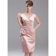 Sheath/Column V-neck Charmeuse Sleeveless Knee-Length Cascading Ruffles Mother of the Bride Dresses