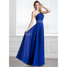A-Line/Princess One-Shoulder Floor-Length Evening Dresses With Ruffle Beading (017004344)