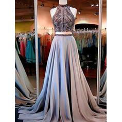 A-Line/Princess Satin Prom Dresses Beading High Neck Sleeveless Sweep Train (018210271)