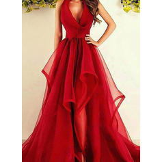 A-Line/Princess Tulle Prom Dresses Ruffle V-neck Sleeveless Asymmetrical Sweep Train (018148405)