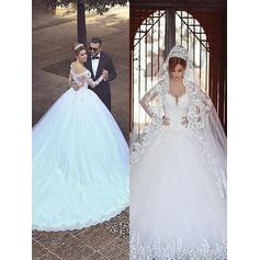 Modern Court Train Ball-Gown Wedding Dresses Off-The-Shoulder Tulle Long Sleeves