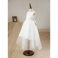 Forme Princesse Longueur ras du sol Robes à Fleurs pour Filles - Satiné/Tulle/Dentelle Sans manches Col rond avec Trou noir (010094052)