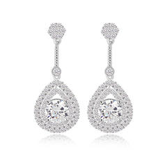 Earrings Zircon/Platinum Plated Pierced Ladies' Unique Wedding & Party Jewelry
