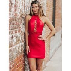 Sheath/Column Halter Short/Mini Homecoming Dresses With Sash Beading