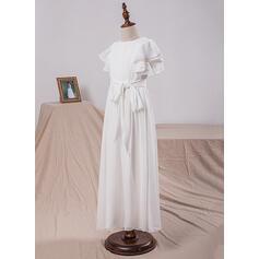 Forme Princesse Longueur ras du sol Robes à Fleurs pour Filles - Mousseline Manches courtes Col rond avec À ruban(s) (010101891)