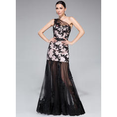 Trumpet/Mermaid Charmeuse Prom Dresses Ruffle Appliques Lace Sequins One-Shoulder Sleeveless Floor-Length (018210552)