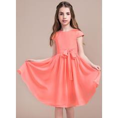 Vestidos princesa/ Formato A Coquetel Vestidos de Menina das Flores - Tecido de seda Sem magas Decote redondo com Curvado (010096126)