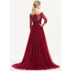 red evening dresses with long sleeves