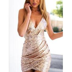 Elegant Sequined Homecoming Dresses Sheath/Column Short/Mini V-neck Sleeveless (022218481)