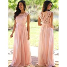 Chiffon Sleeveless A-Line/Princess Prom Dresses Scoop Neck Ruffle Floor-Length