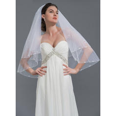 Elbow Bridal Veils Tulle Two-tier Oval With Beaded Edge Wedding Veils