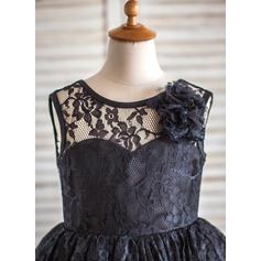 Forme Princesse Longueur genou Robes à Fleurs pour Filles - Dentelle Sans manches Col rond avec Fleur(s)/V retour (010090957)