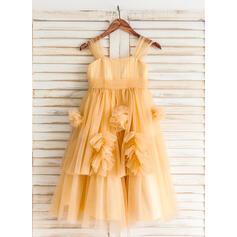 alças de ombro Vestidos princesa/ Formato A Vestidos de daminha Tule Pregueado/Curvado/Plissada Sem magas Coquetel (010212161)