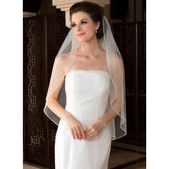 Fingerspitze Braut Schleier Tüll Einschichtig Engelschnitt /Wasserfall mit Perlenbesetzter Saum Brautschleier