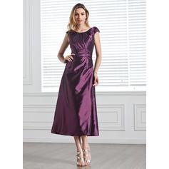 A-Line/Princess Taffeta Bridesmaid Dresses Ruffle Beading Sequins Scoop Neck Sleeveless Tea-Length