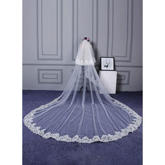 Cathedral Bridal Veils Tulle/Lace Two-tier Classic With Lace Applique Edge Wedding Veils