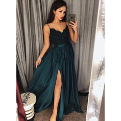A-Line/Princess V-neck Satin Sleeveless Floor-Length Lace Evening Dresses