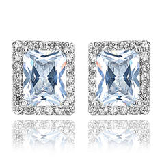 Earrings Zircon/Platinum Plated Pierced Ladies' Classic Wedding & Party Jewelry