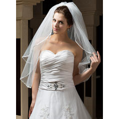 Elbow Bridal Veils Tulle Two-tier Classic With Ribbon Edge Wedding Veils
