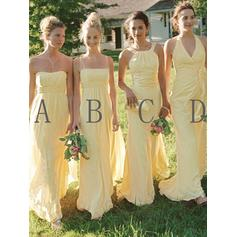 Chiffon Sleeveless A-Line/Princess Bridesmaid Dresses Sweetheart Halter Scoop Neck Square Neckline Ruffle Floor-Length