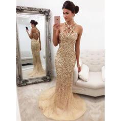 Elegant V-neck Tulle Sweep Train Evening Dresses (017146430)