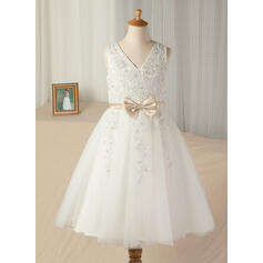 A-Line/Princess Tea-length Flower Girl Dress - Satin/Tulle Sleeveless Scoop Neck With Sash/Bow(s)