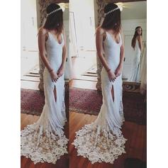 Magnificent Deep V Neck Sheath/Column Wedding Dresses Court Train Lace