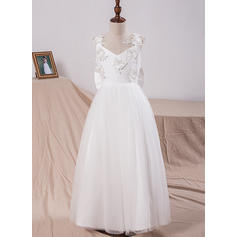 A-Line/Princess Floor-length Flower Girl Dress - Tulle/Lace Sleeveless V-neck With Appliques/Bow(s) (010101884)