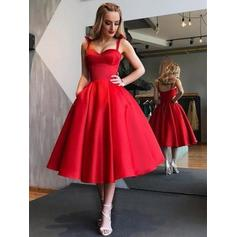 Luxurious Satin Homecoming Dresses A-Line/Princess Tea-Length Sweetheart Sleeveless