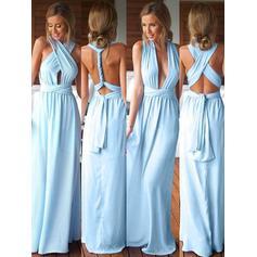 Bridesmaid Dresses V-neck A-Line/Princess Sleeveless Floor-Length (007144974)
